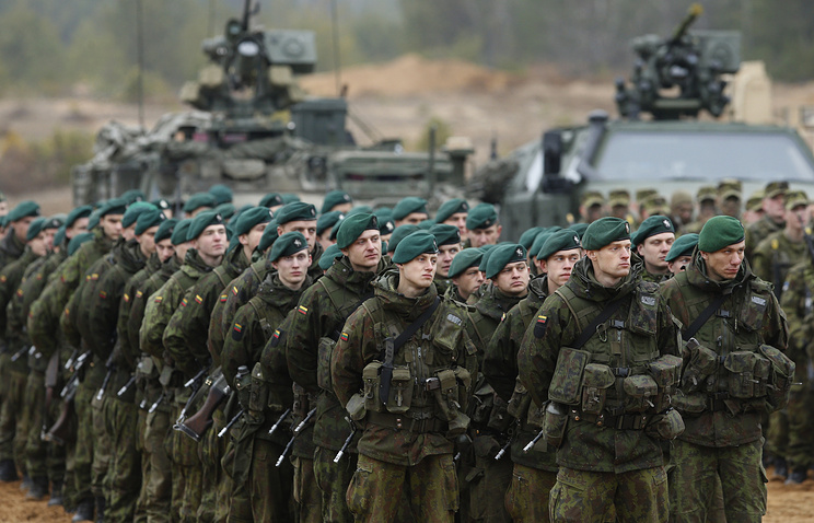 Lithuanian soldiers during a military exercise 'Iron Sword 2014' at the Gaiziunu Training Range in Pabrade