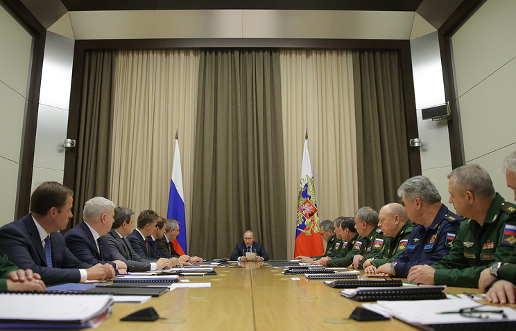 Russian President Vladimir Putin at a meeting on the development of the country's Armed Forces