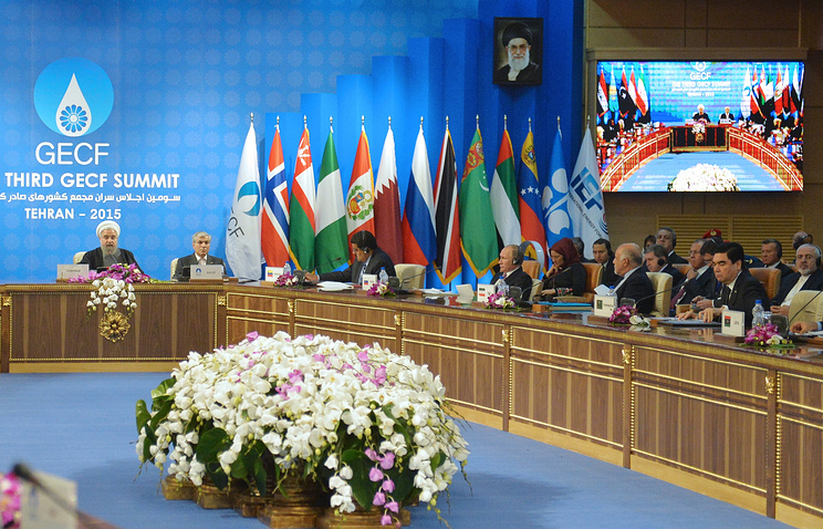 Iran's President Hassan Rouhani at the plenary session of the Gas Exporting Countries Forum