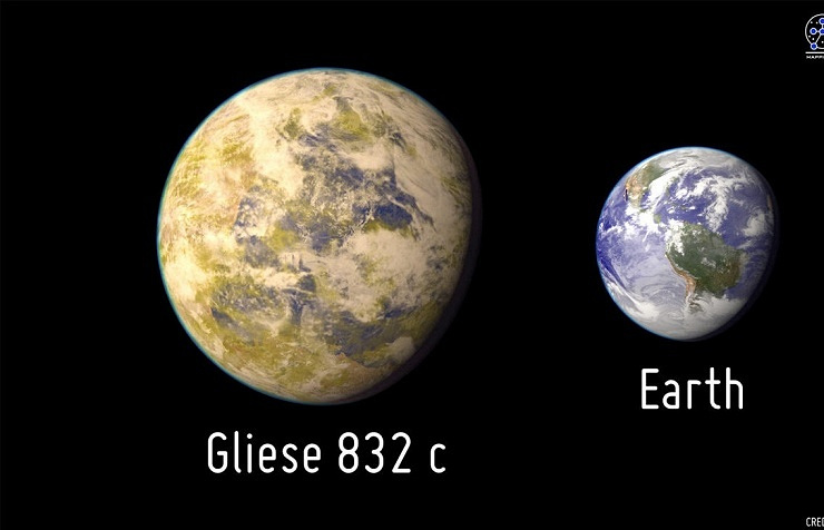 Gliese 832с as compared to Earth