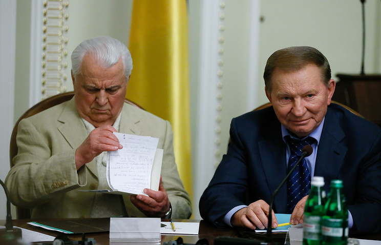 Ukraine's first President, Leonid Kravchuk and Leonid Kuchma