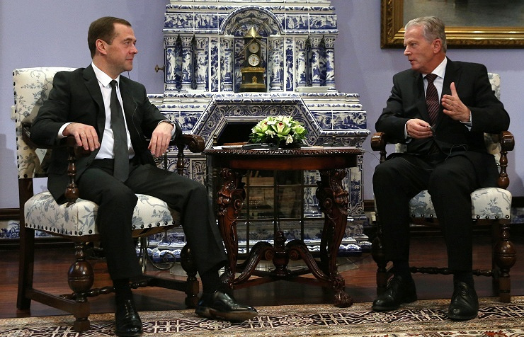 Russian Prime Minister Dmitry Medvedev (left) and Austrian Vice-Chancellor Reinhold Mitterlehner