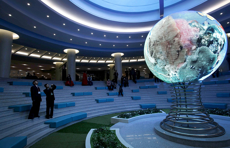 Model of a globe at the Sci-Tech Complex in Pyongyang, North Korea