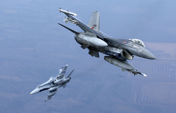 Military fighter jets participating in NATO's Baltic Air Policing Mission