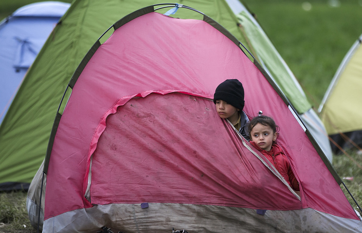 Children at the refugee camp near the northern Greek border