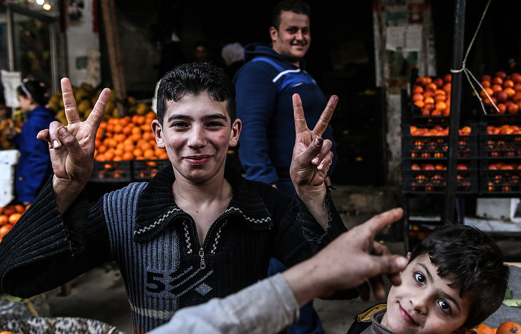 People in the street of Damascus