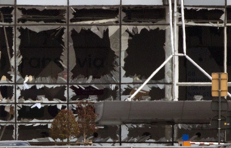 The blown out windows of Zaventem airport, Belgium