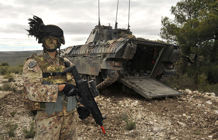 NATO soldier seen while 'Trident Juncture 2015' military exercises