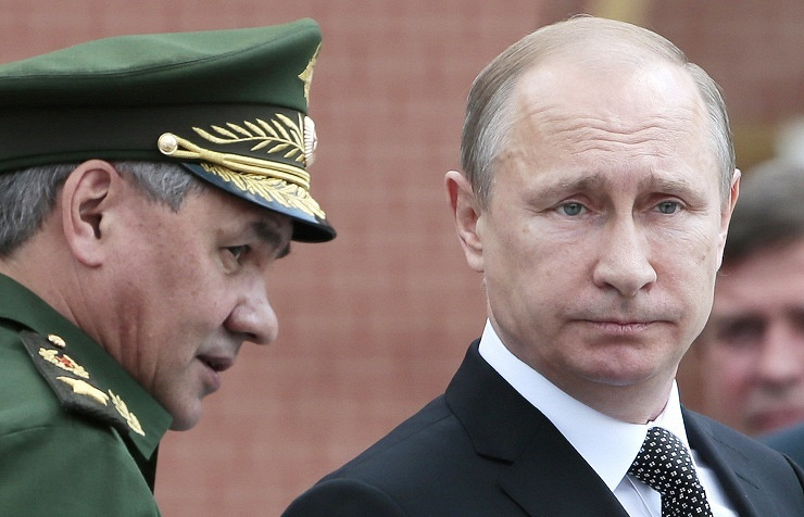 Sergey Shoigu (left) and Vladimir Putin