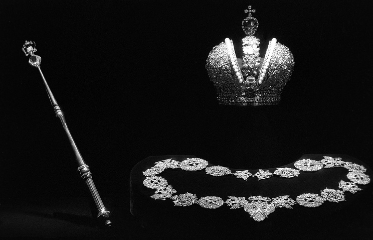 The crown, the scepter, and the Chain of the Order of St Andrew used in coronation ceremonies of Russian monarchs belonging now to the Diamond Fund of the former Soviet Union