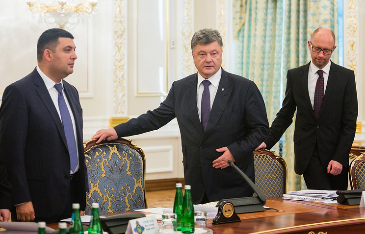 Left to right: Vladimir Groisman, Petro Poroshenko, Arseniy Yatsenyuk