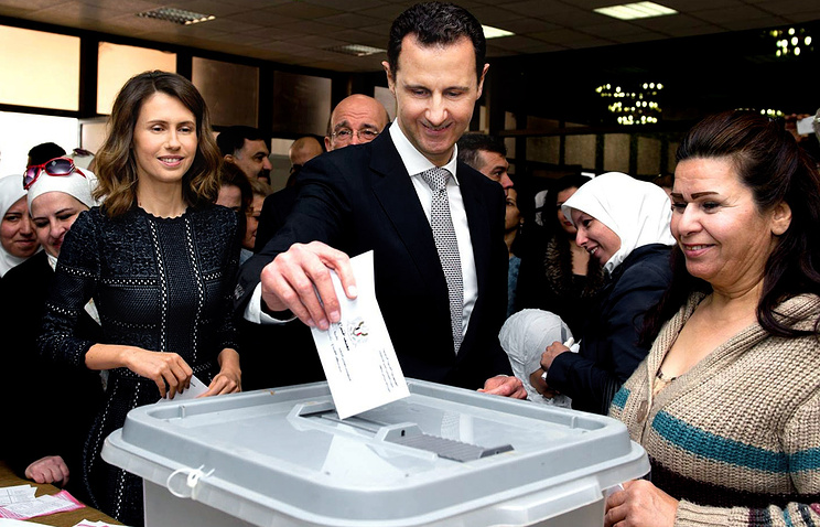 Syrian President Bashar Assad casting his ballot in the parliamentary elections, Damascus, Syria