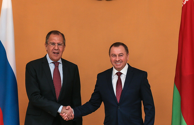Russian and Belarusian Foreign Ministers Sergey Lavrov and Vladimir Makei