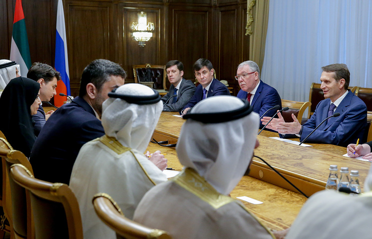Russia's State Duma speaker Sergey Naryshkin at the meeting with UAE's Federal National Council Speaker Amal Al Qubaisi