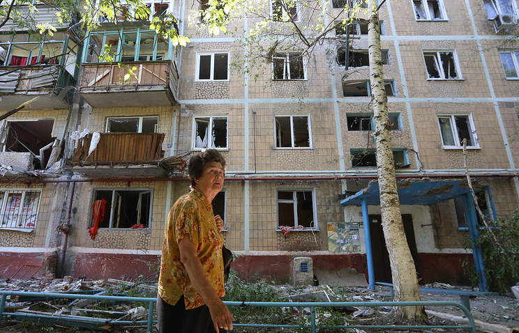 A damaged building in the town of Gorlovka in the aftermath of a night shelling attack, Donetsk region