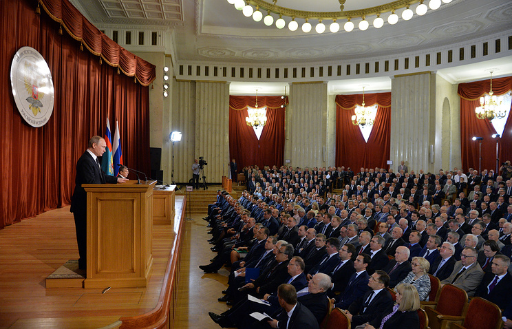 Russian President Vladimir Putin at a meeting with Russian ambassadors