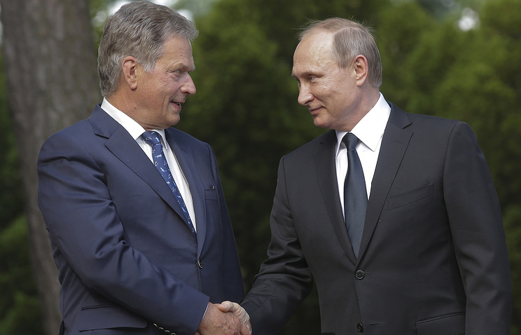 Finnish and President Sauli Niinisto and Vladimir Putin