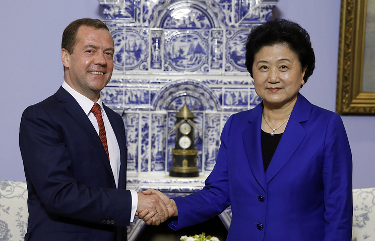 Russian Prime Minister Dmitry Medvedev and China's Vice Premier of the State Council Liu Yandong