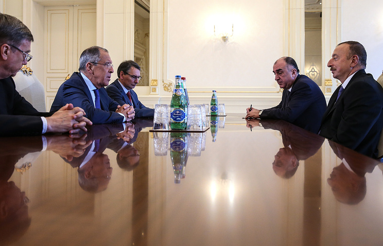 Russia's Foreign Minister Sergei Lavrov and Azerbaijan's President Ilham Aliyev