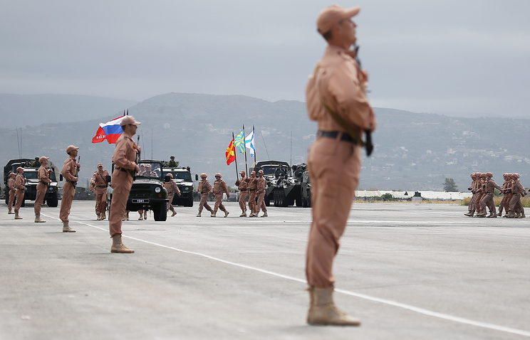 Russian servicemen at the Hmeymim base in Syria