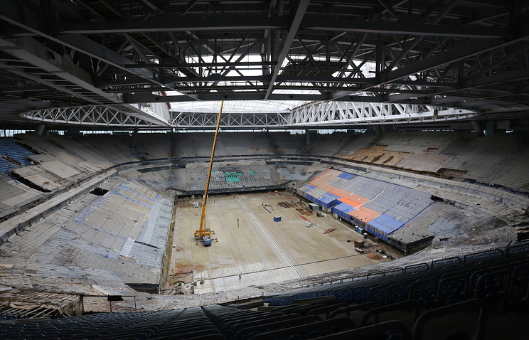 Construction site of Zenit Arena Stadium in St. Petersburg