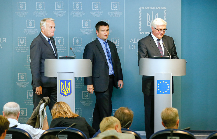 Foreign Ministers of France, Ukraine and Germany Jean-Marc Ayrault, Pavel Klimkin and Frank-Walter Steinmeier