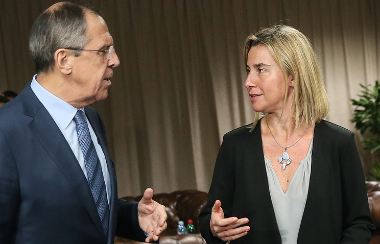 Russian Foreign Minister Sergei Lavrov and the EU High Representative for Foreign and Security Policy Federica Mogherini