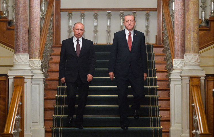 Vladimir Putin and Recep Tayyip Erdogan following their talks on Oct. 10