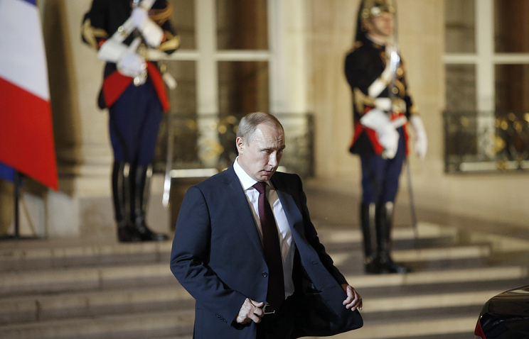 Vladimir Putin in the Elysee Palace in Paris, 2014