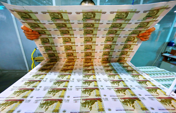 Uncut sheets of 100 ruble banknotes