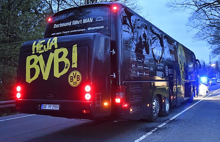 The Borussia Dortmund FC's bus after the attack on April 11