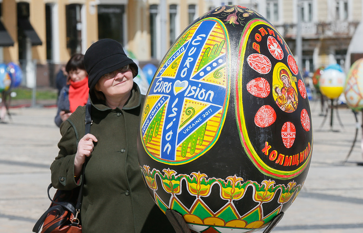 A painted egg showing the Eurovision Song Contest 2017 sign, during a Easter egg festival near St. Sophia's Cathedral in Kiev, Ukraine