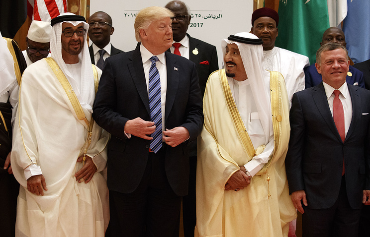 US President Donald Trump and Saudi King Salman at the King Abdulaziz Conference Center in Riyadh, Saudi Arabia