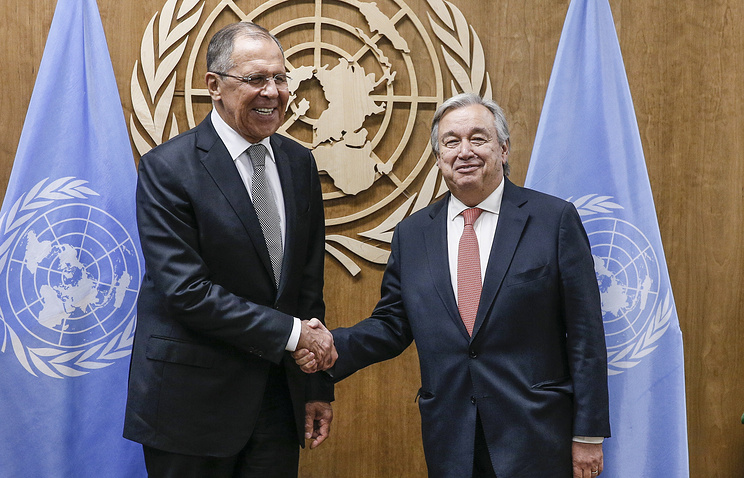 Russian Foreign Minister Sergey Lavrov and UN Secretary General Antonio Guterres