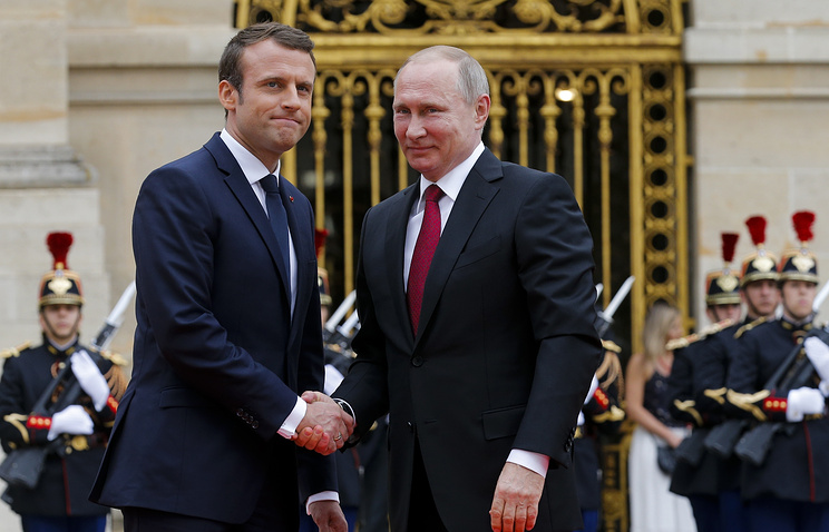 Russian President Vladimir Putin and French President Emmanuel Macron at the Palace of Versailles, France, May 29, 2017