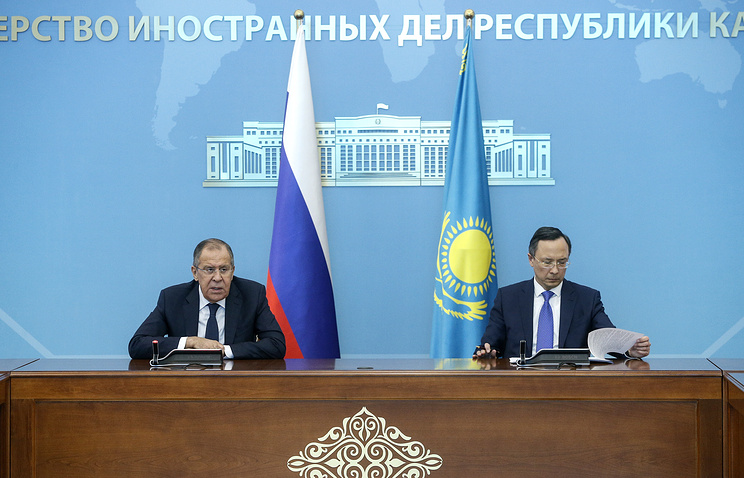 Russian and Kazakhstani Foreign Ministers, Sergey Lavrov and Kairat Abdrakhmanov