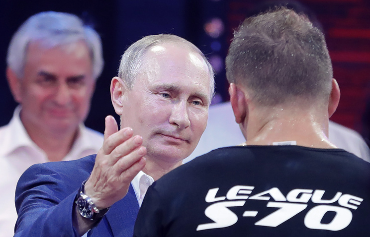 Vladimir Putin at Combat Sambo championship in Sochi, August 2017