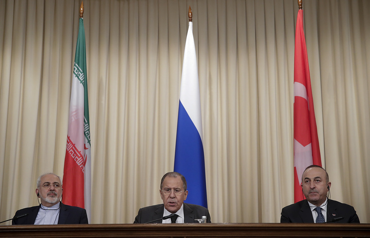 Iranian Foreign Minister Mohammad Javad Zarif, Russian Foreign Minister Sergey Lavrov and Turkey's Foreign Minister Mevlut Cavusoglu, 2016