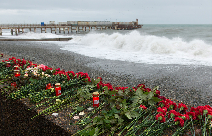 Flowers left on the seafront in Adler, Sochi, in memory of the victims of the 25 December 2016 crash of Russia's Tu-154 military plane