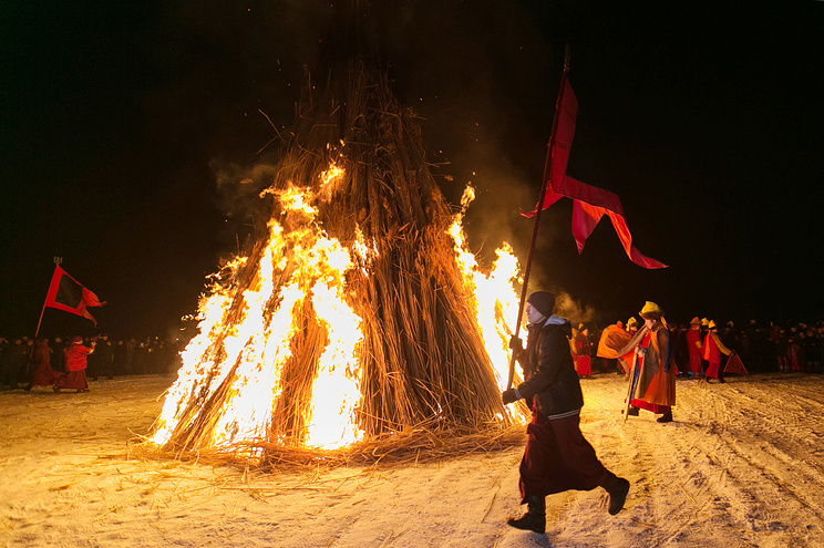 A cleansing ritual at the Ivolginsky datsan Buddhist temple as part of celebrations of the Lunar New Year of the Dog