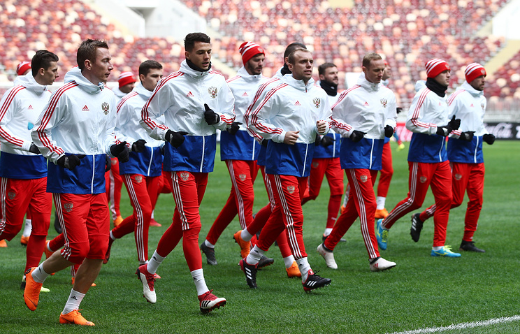 Players of the Russian national football team training for a friendly match against Brazil