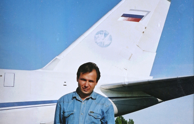Reproduction of a photo of Russian pilot Konstantin Yaroshenko from his mother's personal archive