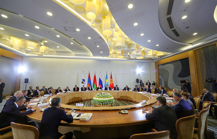 Russia's President Vladimir Putin at an extended meeting of the Supreme Eurasian Economic Council