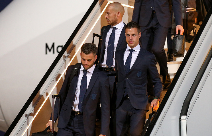 Nacho (left) and Cesar Azpilicueta Tanco (right) of Spain's national football team welcomed at the Krasnodar airport
