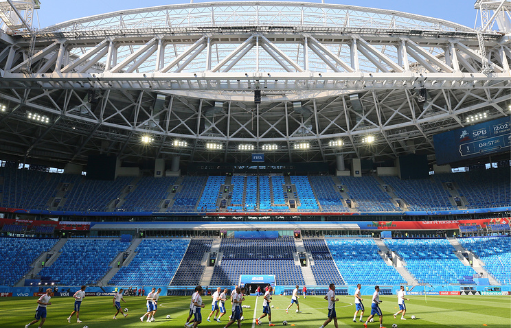 A training session of Russia's national football team at Saint Petersburg Stadium