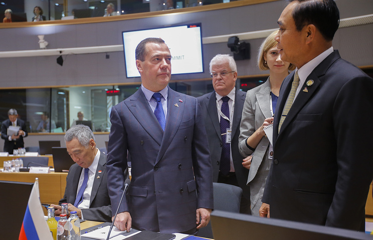 Russia Prime Minister Dmitry Medvedev at the ASEM summit in Brussels
