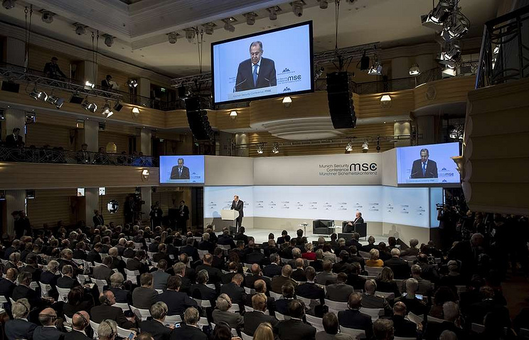 Russian Foreign Minister Sergei Lavrov delivers a speech at the 2018 Munich Security Conference