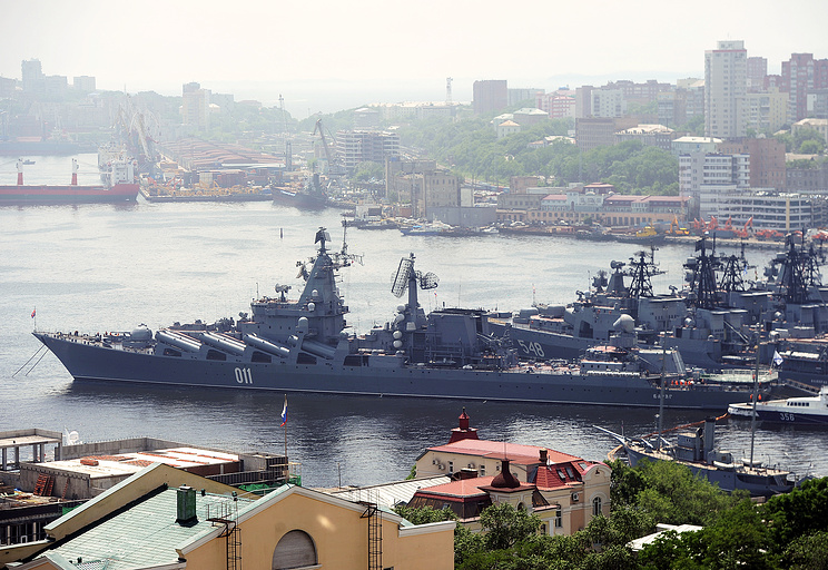 View of the port of Vladivostok and the Golden Horn Bay in the Peter the Great Gulf