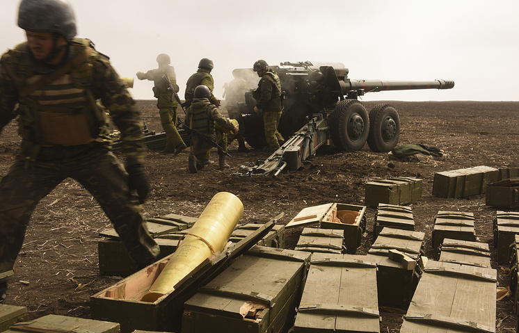 Ukrainian army soldiers during drills, (