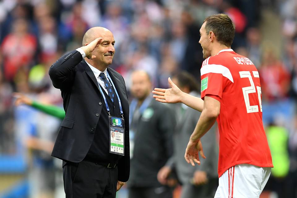 Artem Dzyuba celebrates with Stanislav Cherchesov after scoring his team's third goal during the 2018 FIFA World Cup Russia match between Russia and Saudi Arabia  Matthias Hangst/Getty Images
